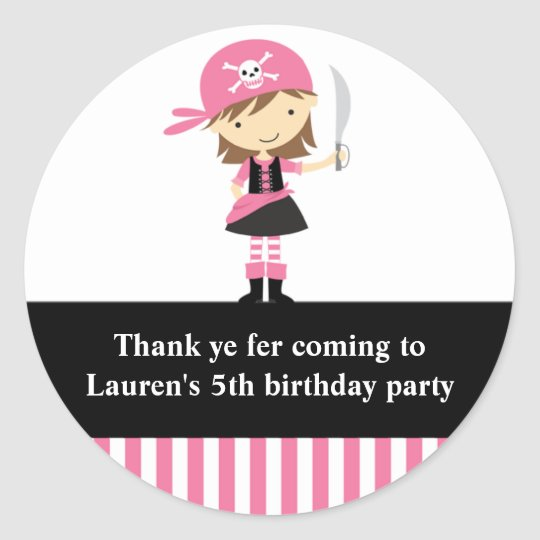 Pink Pirate Girl Birthday Stickers