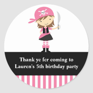 Pink Pirate Girl Birthday Stickers Round Stickers