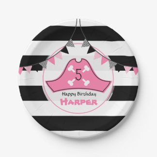 Pink Pirate Hat Birthday 7 Inch Paper Plate