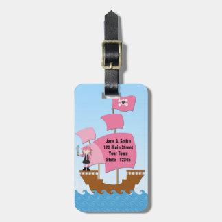 Pink Pirate Ship Luggage Tag
