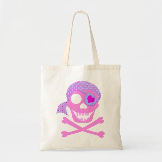 Pink Pirate Skull Canvas Bags