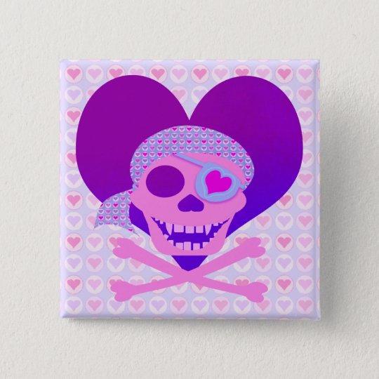 Pink Pirate Skull Heart Buttons