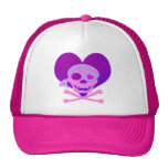 Pink Pirate Skull Heart Hats
