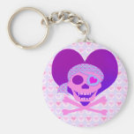 Pink Pirate Skull Heart Keychain