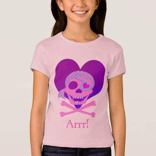 Pink Pirate Skull Heart Kids' Shirts