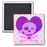 Pink Pirate Skull Heart Magnets
