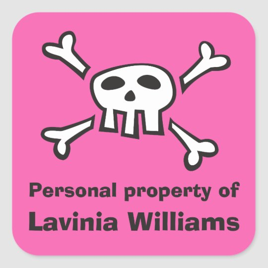 Pink pirate skull personal property label