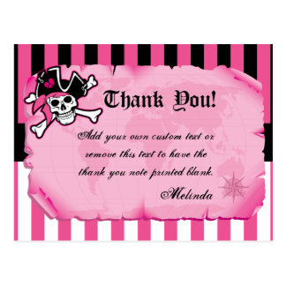 Pink Pirate Thank You Cards Postcard