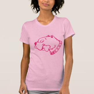 Pink Pitbull Head Vector Art  -  T-shirt