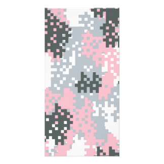 Pink Pixel Camouflage Custom Photo Card