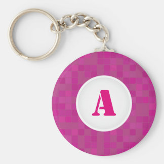 Pink pixelated mosaic initial letter keychain