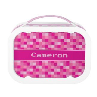 Pink Pixelated Pattern   Personalized Lunchbox