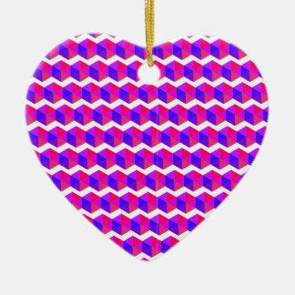 Pink Pixels Pattern Ceramic Heart Decoration