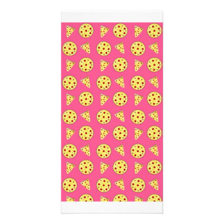 pink pizza pattern photo greeting card