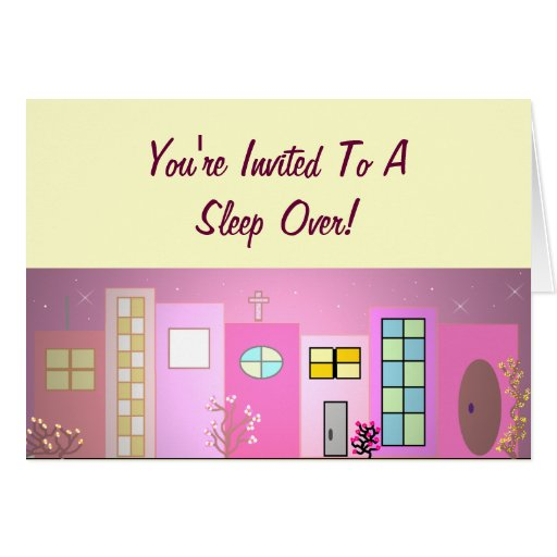 Pink Place Sleep Over Invitation Card