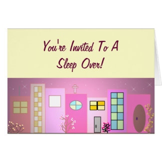 Pink Place Sleep Over Invitation Greeting Card