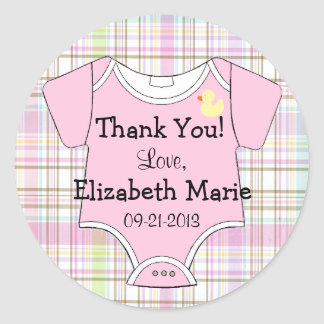 Pink Plaid and Baby Outfit Round Sticker