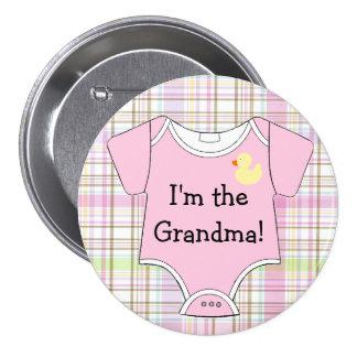 Pink Plaid Baby Shower I'm The Grandma 7.5 Cm Round Badge