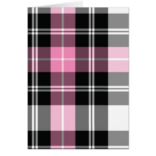 pink plaid card