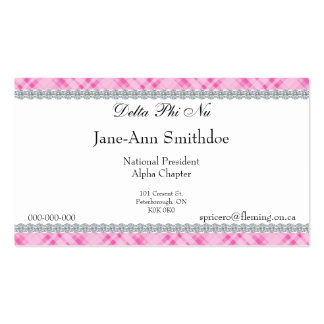 Pink Plaid & Diamond Border Business Cards