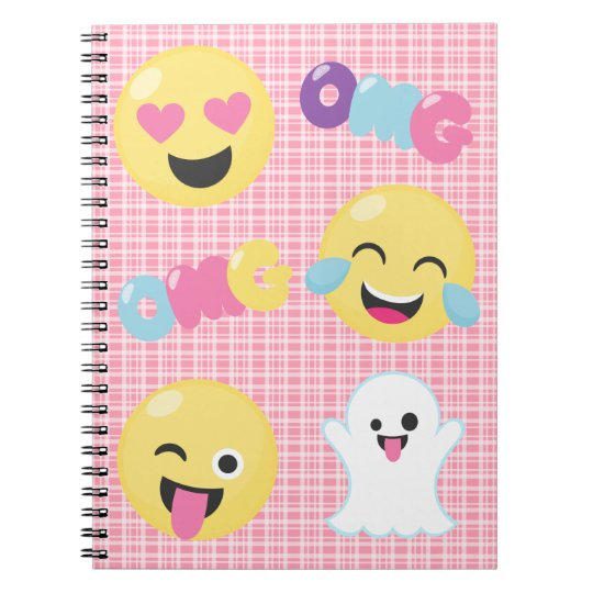 Pink Plaid Emoji OMG Emotions Spiral Notebook