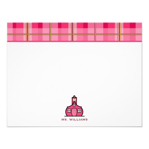 Pink Plaid Flat Notecards For Teachers Invites