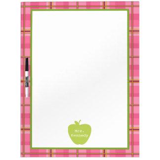 Pink Plaid Green Apple Teacher Dry Erase Board