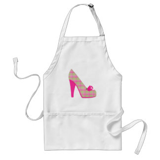 Pink Plaid Heels With Rose Apron
