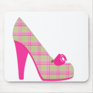 Pink Plaid Heels With Rose Mouse Mat