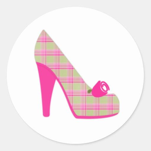 Pink Plaid Heels With Rose Round Sticker