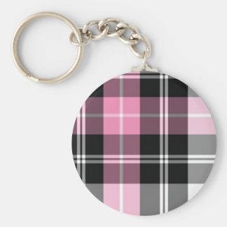 pink plaid key ring