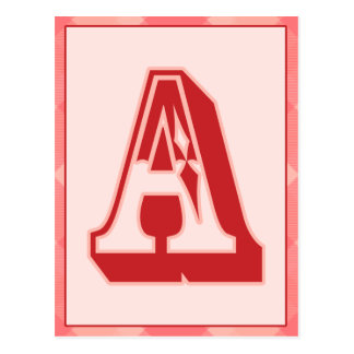 "Pink Plaid Letter ""A"" Typography Banner Card Postcard"