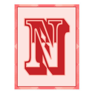 "Pink Plaid Letter ""N"" Typography Banner Card"