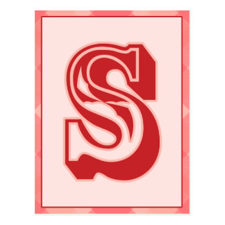 "Pink Plaid Letter ""S"" Typography Banner Card"