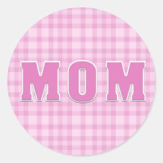 Pink Plaid Mom Sticker