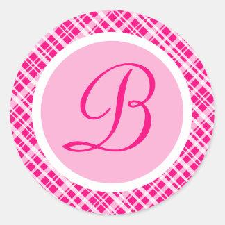Pink Plaid Monogram Initial Sticker