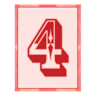 "Pink Plaid Number ""4"" Typography Banner Card Postcard"