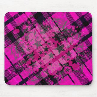 Pink Plaid Paint Splatter Mouse Pad