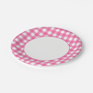 Pink Plaid Paper Plate