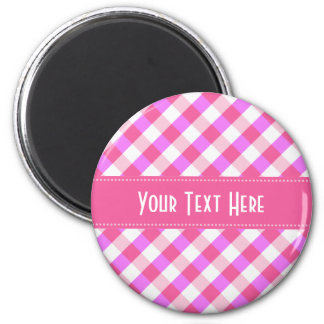 Pink Plaid Pattern custom magnet