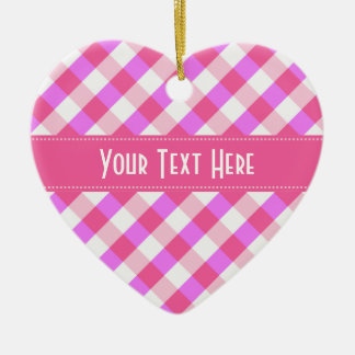 Pink Plaid Pattern custom ornament
