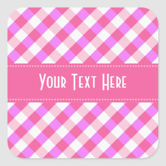Pink Plaid Pattern custom stickers