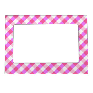 Pink Plaid Pattern magnetic frame