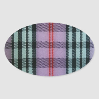 Pink Plaid Oval Stickers