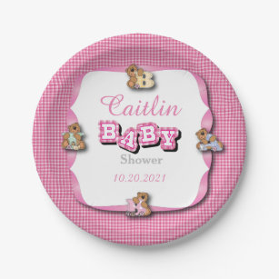 Pink Plaid with Baby Bears | Baby Girl Shower Paper Plate  sc 1 st  Zazzle & Cartoon Teddy Bear Plates | Zazzle.co.uk