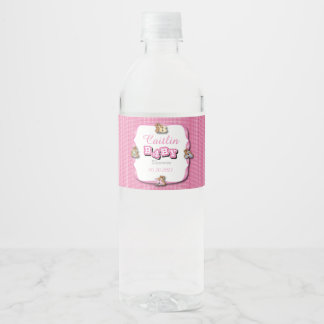 Pink Plaid with Baby Bears | Baby Girl Shower Water Bottle Label
