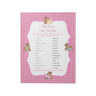Pink Plaid with Baby Bears | Baby Shower - Game Notepad