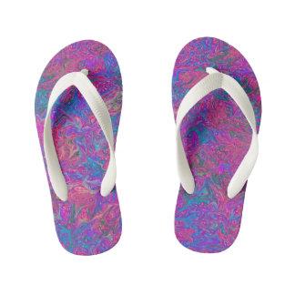 Pink Plastic Grid Abstract Art Kid's Flip Flops