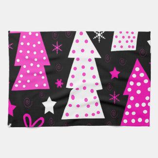 Pink playful Xmas Tea Towel