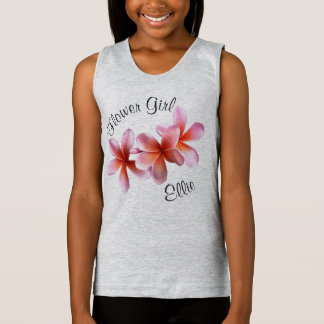 Pink Plumeria Frangipani Flower Girl Name Tank Top
